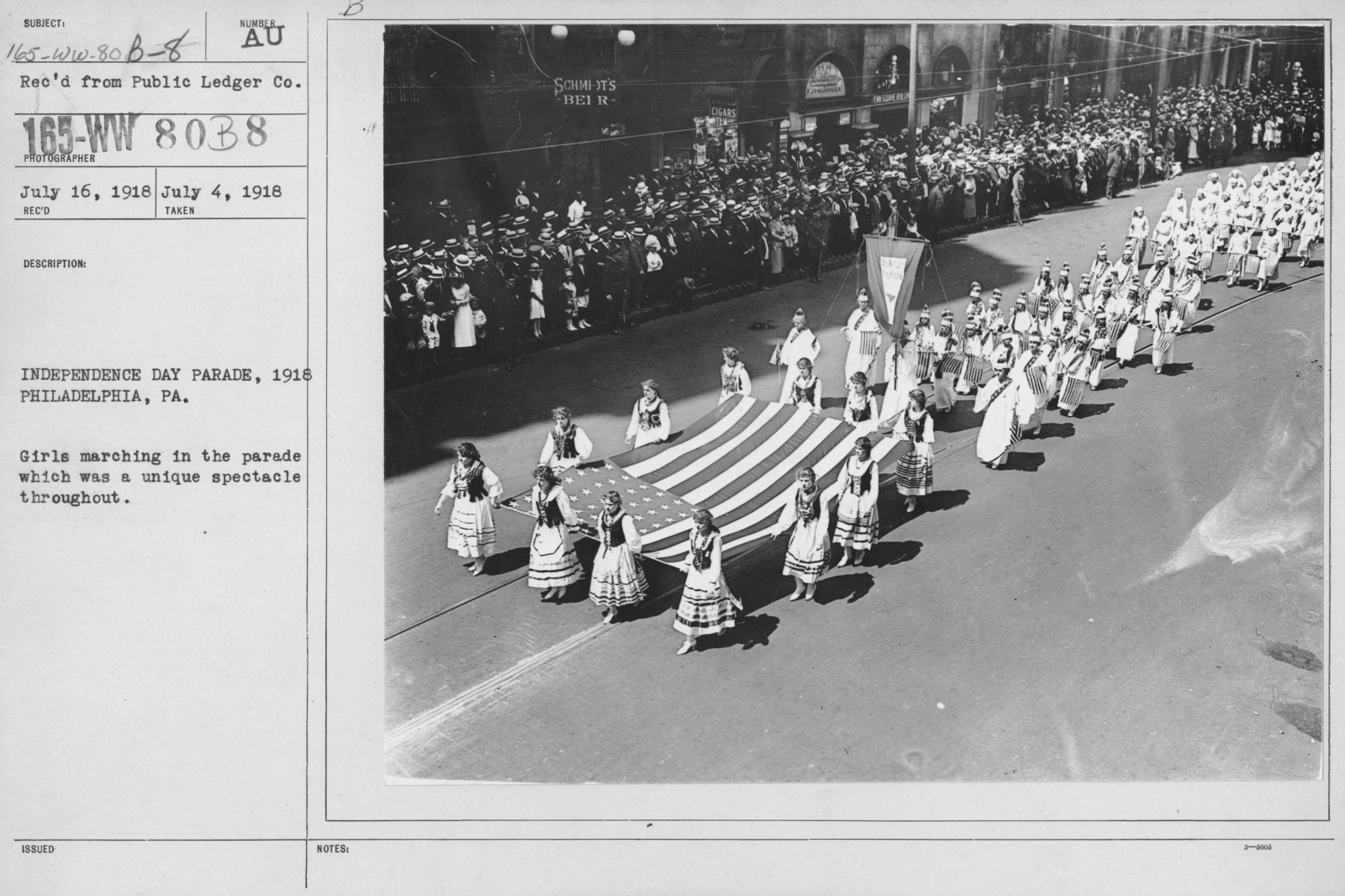 Ceremonies - Independence Day Parades (All States) - Independence Day Parade, 1918, Philadelphia, PA. Girls marching in the parade which was a unique spectable throughout