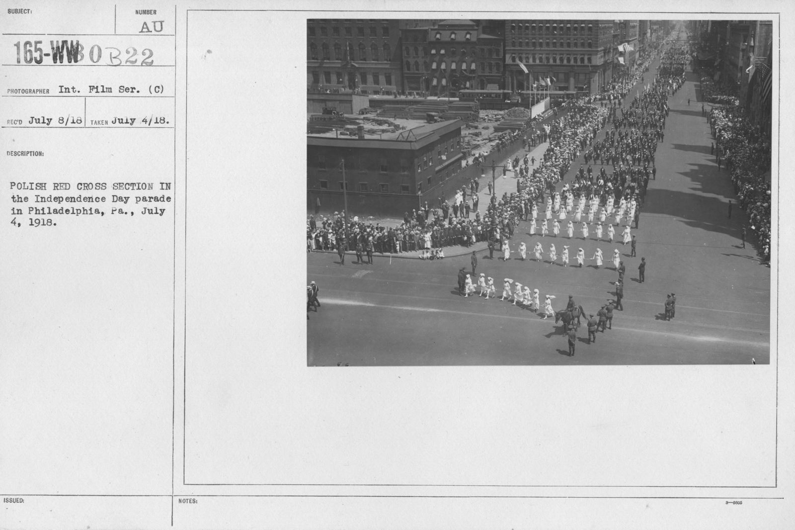 Ceremonies - Independence Day Parades (All States) - Polish Red Cross section in the Independence Day Parade in Philadelphia, PA., July 4, 1918