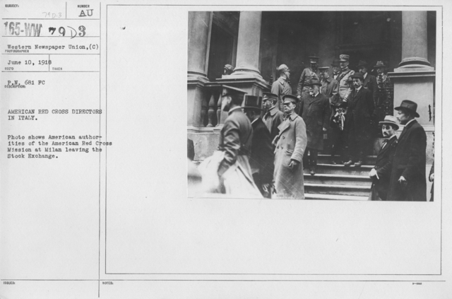 Ceremonies - Italy (Milan) - American Red Cross directors in Italy. Photo shows American authorities of the American Red Cross Mission at Milan the Stock Exchange