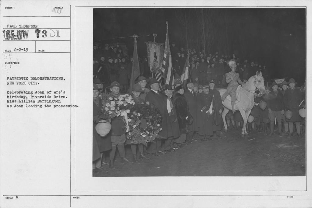 Ceremonies - Joan of Ark Day, 1918 -  New York - Patriotic demonstrations, New York City. Celebrating Joan of Arc's birthday, Riverside Drive. Miss Lilian Barrington as Joan leading the procession