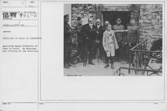 Ceremonies - Lafayette Day, 1918 - Americans at grave of Lafayette. Americans honor Lafayette at Tomb in Paris. An American boy reciting at the services