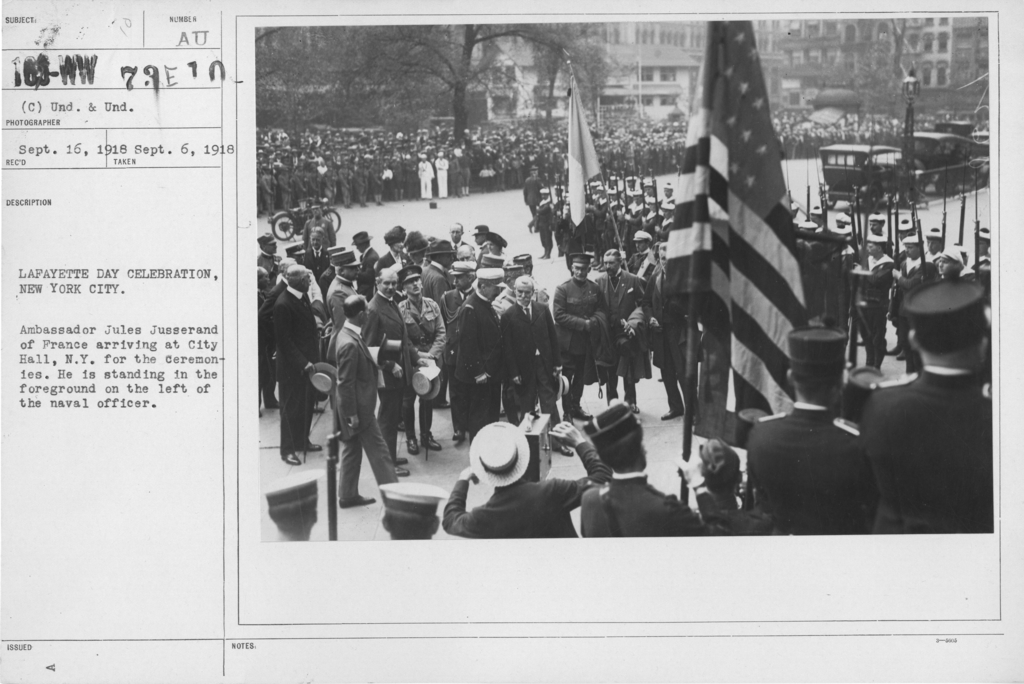 Ceremonies - Lafayette Day, 1918 - Lafayette Day Celebration, New York City. Ambassador Jules jusserand of France arriving at City Hall, N.Y. for the ceremonies. He is standing in the foreground on the left of the naval officer