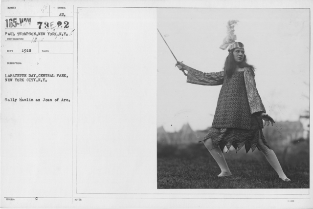 Ceremonies - Lafayette Day, 1918 - Lafayette Day, Central Park, New York City, N.Y. Sally Hamlin as Joan of Arc