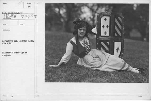 Ceremonies - Lafayette Day, 1918 - Lafayette Day, Central Park, New York. Elizabeth Burbridge in constume
