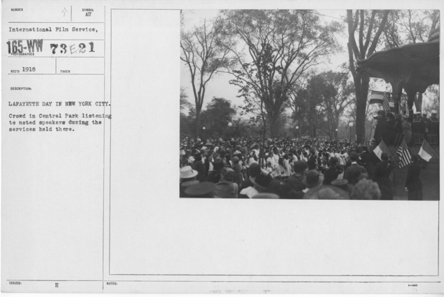 Ceremonies - Lafayette Day, 1918 - Lafayette Day in New York City. Crowd in Central Park listening to noted speakers during the services held there