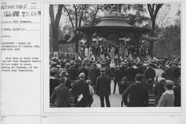 Ceremonies - Lafayette Day, 1918 - Lafayette - Marne Day Celebration in Central Park, New York City. Miss Rose La Harte singing the Star Spangled Banner. To her right is Lieut. Adrian de Pachmann, of the French High Commission