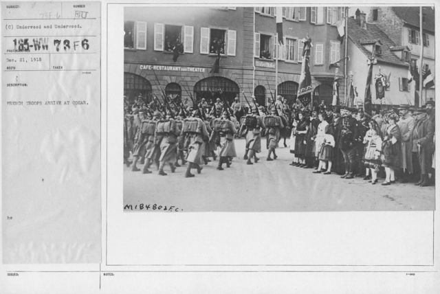 Ceremonies - Liberation of Alsace (Strassbourg) - French troops arrive at Colmar