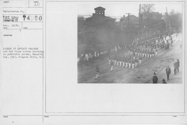 Ceremonies - Liberations - Memorial Day, 1918 - Cadets of Deveaux College and Red Cross nurses marching in patriotic parade, Memorial Day, 1917. Niagara Falls, N.Y