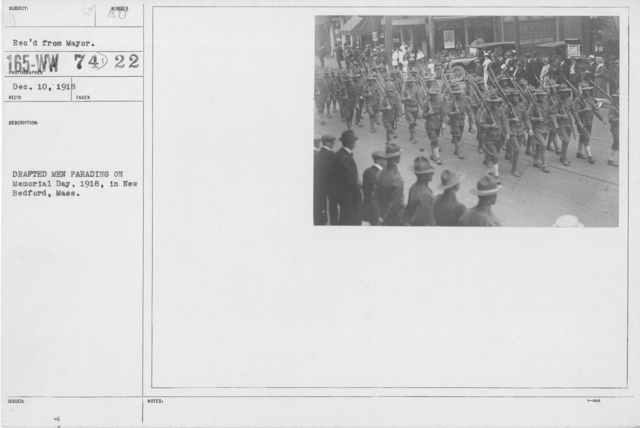 Ceremonies - Liberations - Memorial Day, 1918 - Drafted men parading on Memorial Day, 1918, in New Bedford, Mass