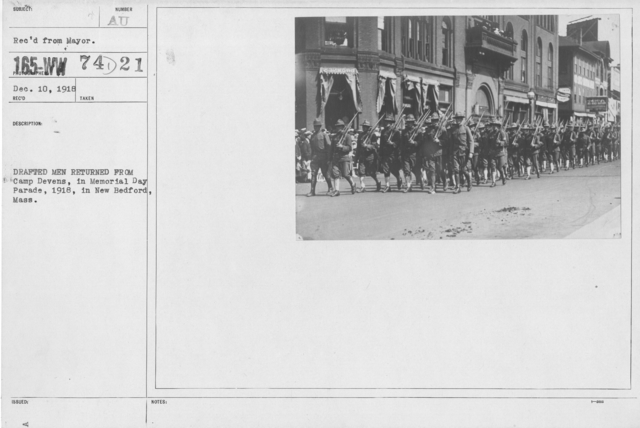 Ceremonies - Liberations - Memorial Day, 1918 - Drafted men returned from Camp Devens, in Memorial Day Parade, 1918, in New Bedford, Mass