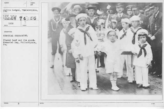 Ceremonies - Liberations - Memorial Day, 1918 - Memorial ceremonies. Floral Boat and its guard. Memorial Day, Philadelphioa, PA