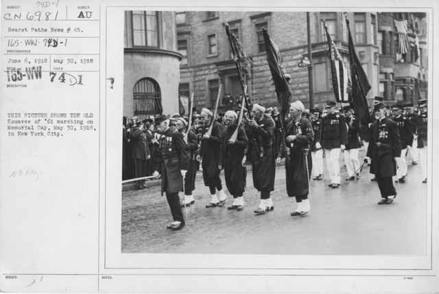 Ceremonies - Liberations - Memorial Day, 1918 - This picture shows the Old Zouaves of '61 marching on Memorial Day, May 30, 1918, in New York City