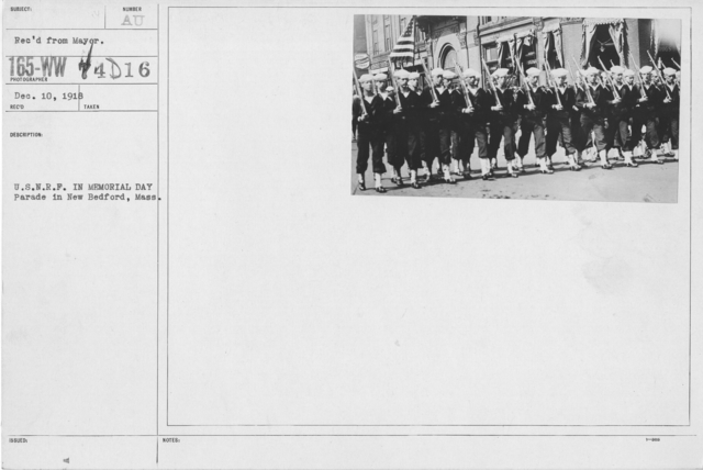 Ceremonies - Liberations - Memorial Day, 1918 - U.S.N.R.F. in Memorial Day Paradei n New Bedford, Mass