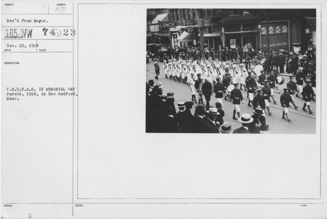 Ceremonies - Liberations - Memorial Day, 1918 - Y.M.C.T.A.S. in Memorial Day Parade, 1918, in New Bedford, Mass