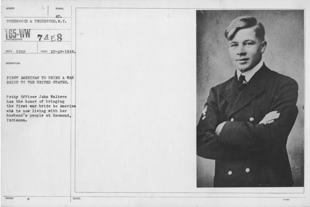 Ceremonies - Liberations - Military Weddings - First American to bring a war bride to the United States. Petty Officer John Walters has the honor of brining the first war bridge to America who is now living with her husband's people at Hammond, Indiana