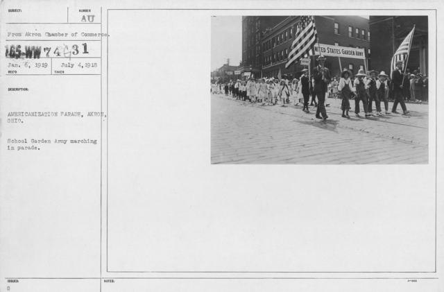 Ceremonies - Liberations - Naturalization Ceremonies - Americanization Parade, Akron, Ohio. School Garden Army marching in parade