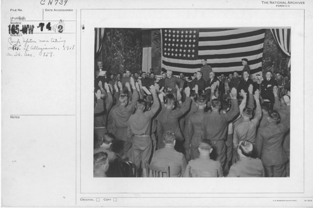 Ceremonies - Liberations - Naturalization Ceremonies - Camp Upton men taking Oath of Allegiance, 1918