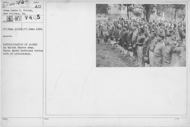 Ceremonies - Liberations - Naturalization Ceremonies - Naturalization of aliens in United States Army. Photo shows Austrians taking oath of citezenship