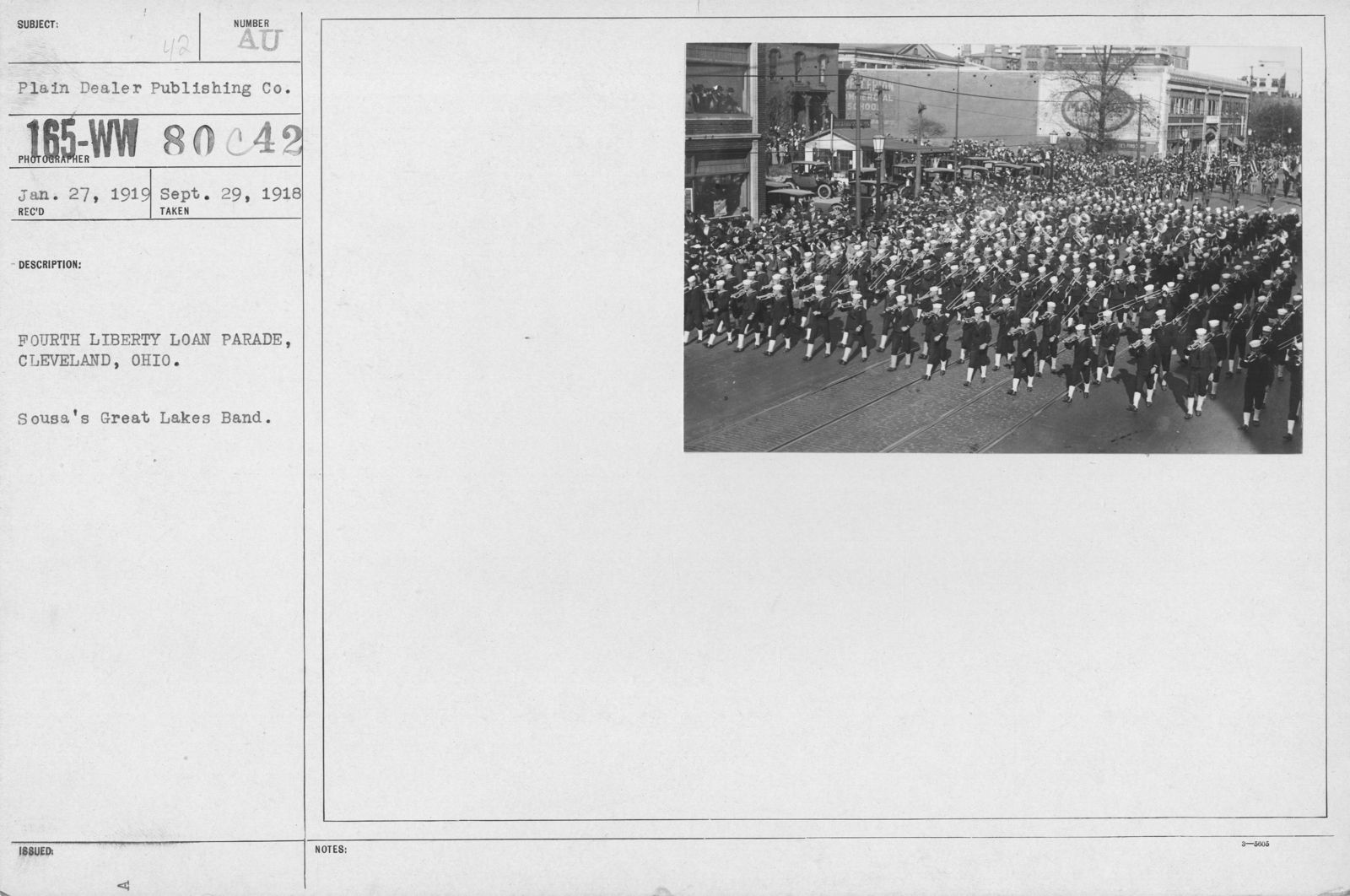 Ceremonies - Liberty Loans (War Finance Parade) - Fourth Liberty Loan Parade, Cleveland, Ohio. Sousa's Great Lakes Band