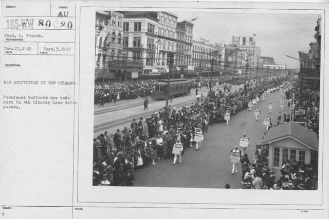 Ceremonies - Liberty Loans (War Finance Parade) - War activities in New Orleans. Prominent business men take part in 4th Liberty Loan drive parade