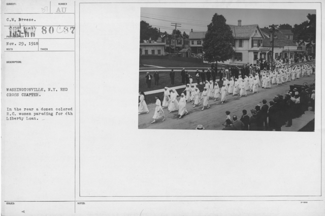 Ceremonies - Liberty Loans (War Finance Parade) - Washingtonville, N.Y. Red Cross Chapter. In the rear a dozen colored R.C. women parading for 4th Libery Loan