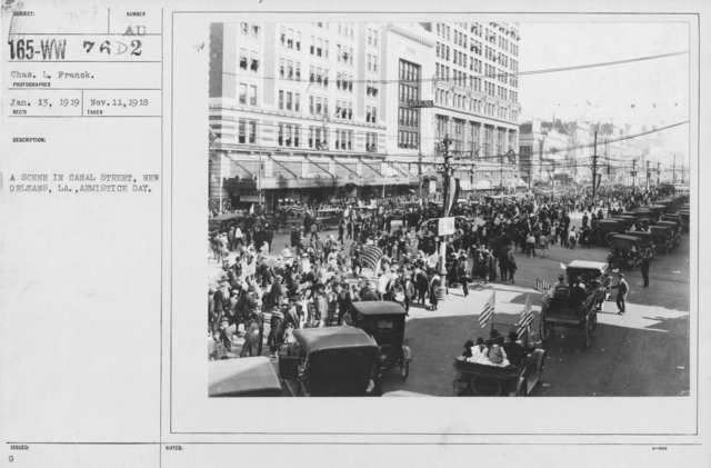 Ceremonies - Louisiana - A scene in Canal Street, New Orleans, LA., Armistice Day