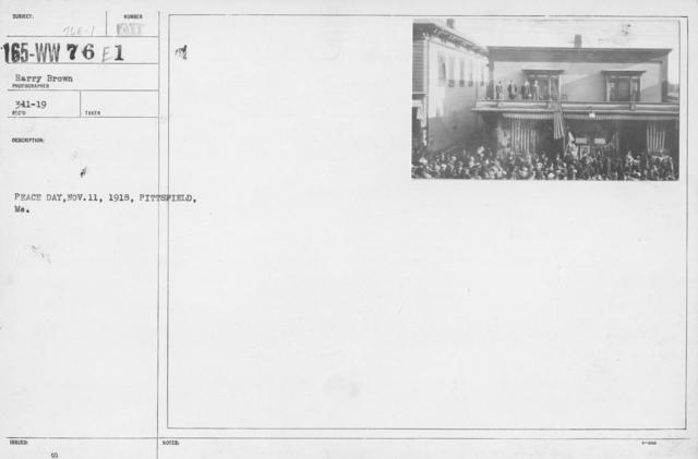 Ceremonies - Maine - Peace Day, Nov. 11, 1918, Pittsfield, ME