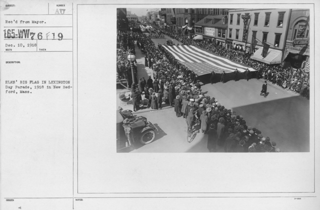 Ceremonies - Massachusetts - Elks' Big Flag in Lexington Day Parade, 1918 in New Bedford, Mass