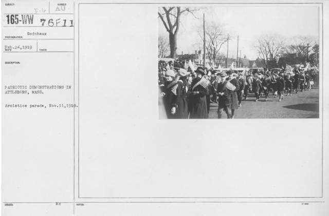 Ceremonies - Massachusetts - Patriotic Demonstrations in Attleboro, Mass. Armistice parade Nov. 11, 1918