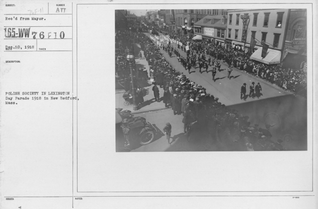 Ceremonies - Massachusetts - Polish Society in Lexington Day Parade 1918 in New Bedford, Mass