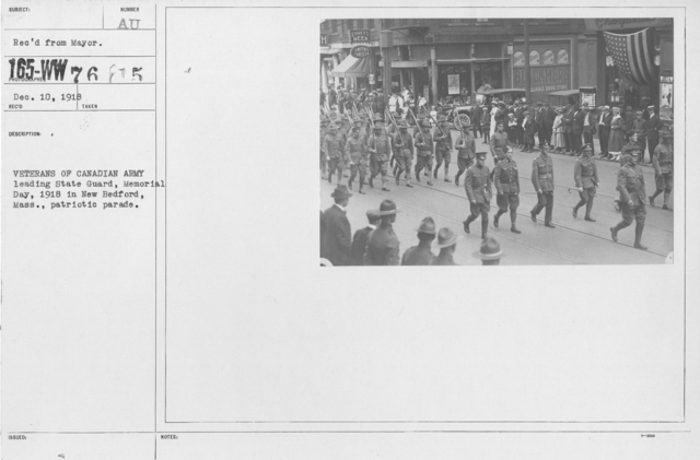 Ceremonies - Massachusetts - Veterans of Canadian Army leading State Guard, Memorial Day, 1918 in New Bedford, Mass., patriotic parade