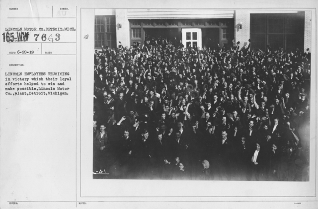 Ceremonies - Michigan - Lincoln employees rejoicing in victory which their loyal efforts helped to win and make possible, Lincoln Motor Co., plant, Detroit, Michigan