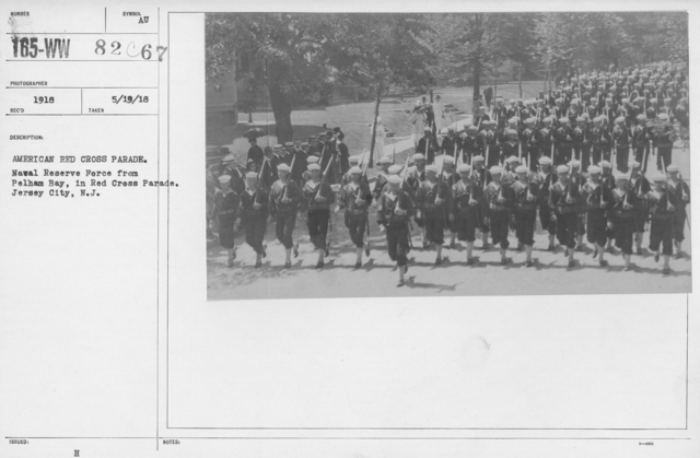 Ceremonies - Michigan thru New Jersey - American Red Cross parade. Naval Reserve Force from Pelham Bay, in Red Cross Parade. Jersey City, N.J