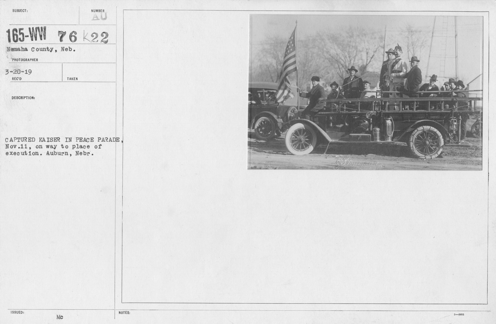 Ceremonies - Nebraska - Captured Kaiser in Peace Parade, Nov. 11, on way to place execution. Auburn, Nebr