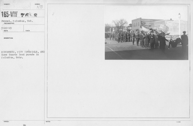 Ceremonies - Nebraska - Ministers, City Officials, and Home Guards lead parade in Columbus, Nebr