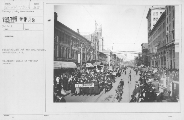 Ceremonies - New Hampshire (Peace Demonstrations) - Celebrations for war activities. Manchester, N.H. Telephone girls in Victory parade