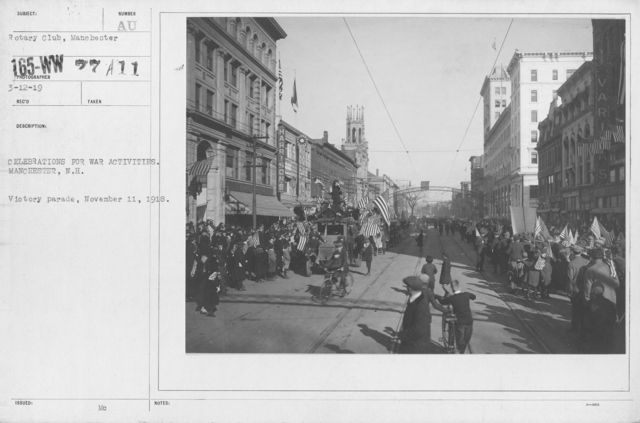 Ceremonies - New Hampshire (Peace Demonstrations) - Celebrations for War activities. Manchester, N.H. Victory parade, November 11, 1918