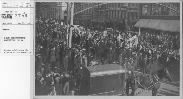 Ceremonies - New Hampshire (Peace Demonstrations) - Peace Demonstration, Manchester, N.H. Crowds celebrating the signing of the armistice