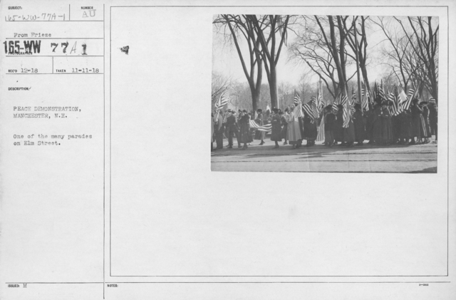 Ceremonies - New Hampshire (Peace Demonstrations) - Peace Demonstration, Manchester, N.H. One of the many parades on Elm Street