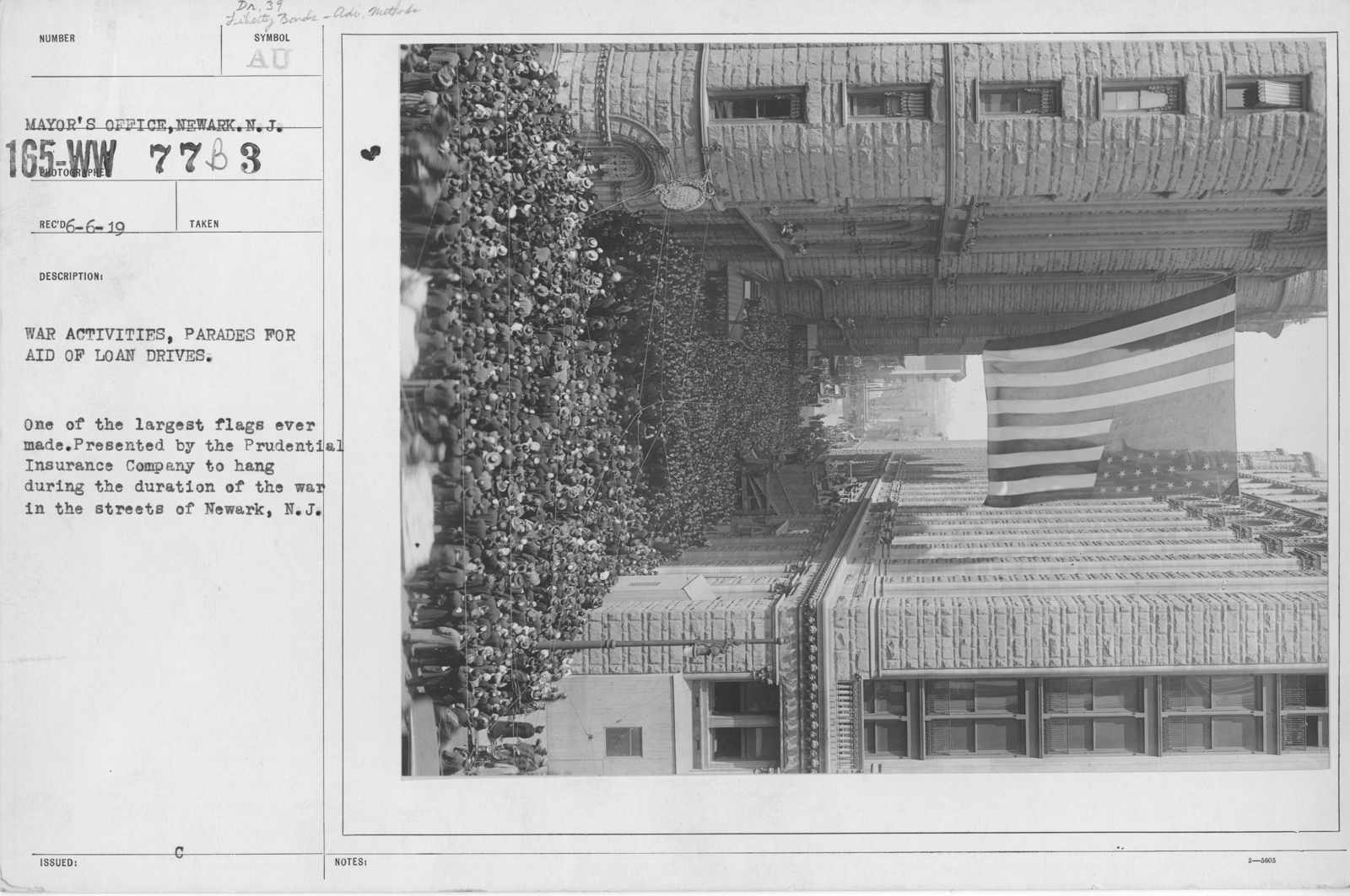 Ceremonies - New Jersey (Ships on the Hudson River) - War activities, parades for aid of loan drives. One of the largest flags ever made. Presented by the Prudential Insurance Company to hang during the duration of the war in the streets of Newark, N.J