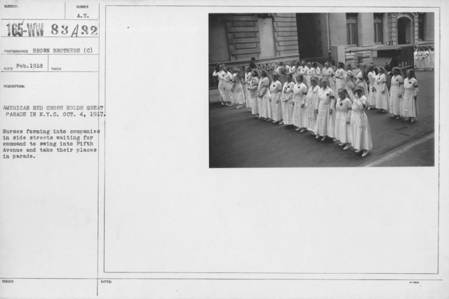Ceremonies - New York - American Red Cross holds great parade in N.Y.C. Oct. 4, 1917. Nurses forming into companies in side streets waiting for command to swing into Fifth Avenue and take their places in parade