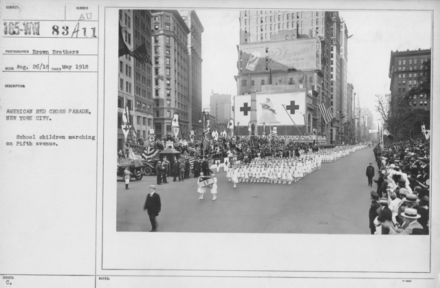 Ceremonies - New York - American Red Cross parade, New York City. School children marching on Fifth avenue
