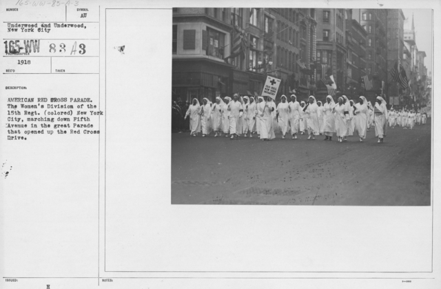 Ceremonies - New York - American Red Cross parade. The Women's Division of the 15th Regt. (colored) New York City, marching down Fifth Avenue in the great Parade that opened up the Red Cross Drive