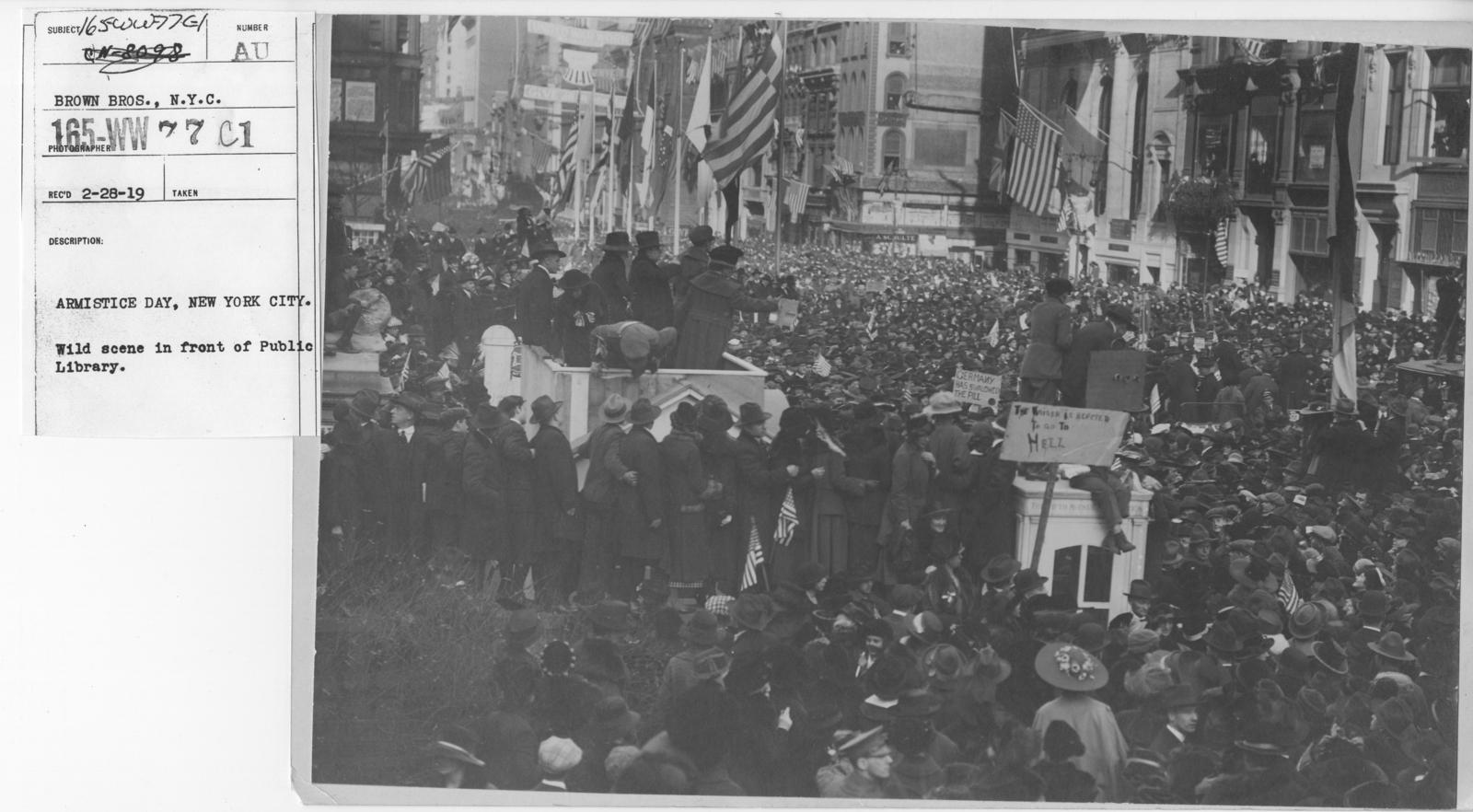 Ceremonies - New York City - Armistice Day, New York City. Wild scene in front of Public Library
