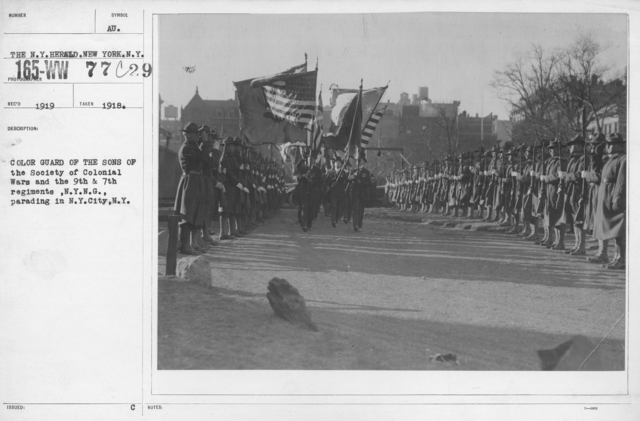 Ceremonies - New York City - Color Guard of the Sons of the Society of Colonial Wars and the 9th & 7th regiments, N.Y.N.G., parading in N.Y. City, N.Y
