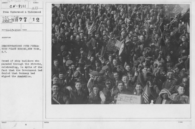 Ceremonies - New York City - Demonstrations over premature peace rumors, New York, N.Y. Crowd of ship builders who paraded through the streets, celebrating, in spite of the fact that the Government had denied that Germany has signed the Armistice