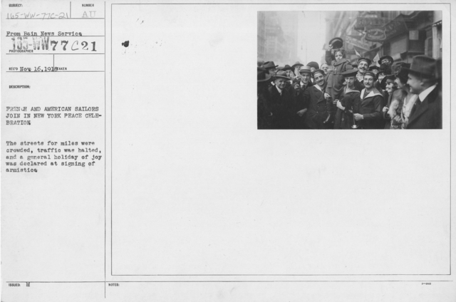 Ceremonies - New York City - French and American Sailors join in New York Peace Celebration. The streets for miles were crowded, traffic was halted, and a general holiday of joy was declared at signing of armistice