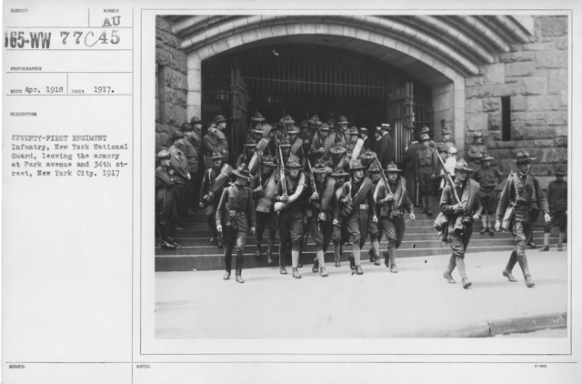 Ceremonies - New York City - Seventy-First Regiment Infantry, New York National Guard, leaving the armory at Park avenue and 34th Street, New York City. 1917