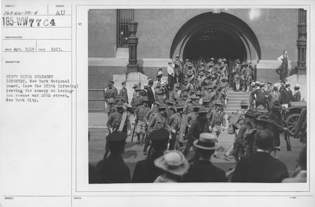 Ceremonies - New York City - Sixty Ninth Regiment Infantry, New York National Guard, (now the 165th Infantry) leaving the armory at Lexington Avenue and 26th street, New York City