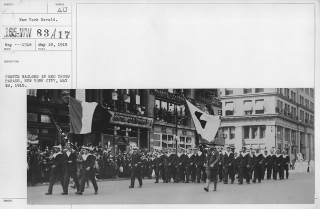 Ceremonies - New York - French sailors in Red Cross parade, New York City, May 18. 1918